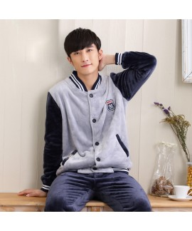Men's Long Sleeve Thickened Flannel Sports Pajamas...