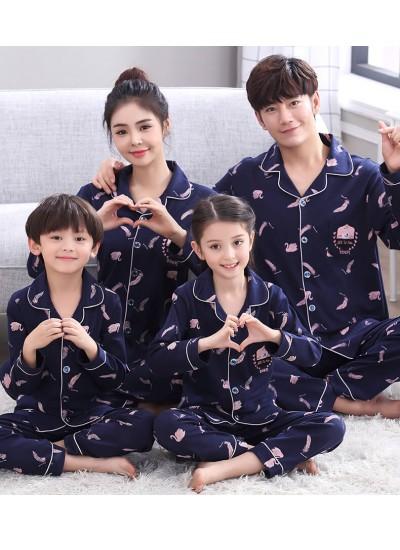 Autumn parent-child pajamas family dress, cotton long sleeved pyjamas