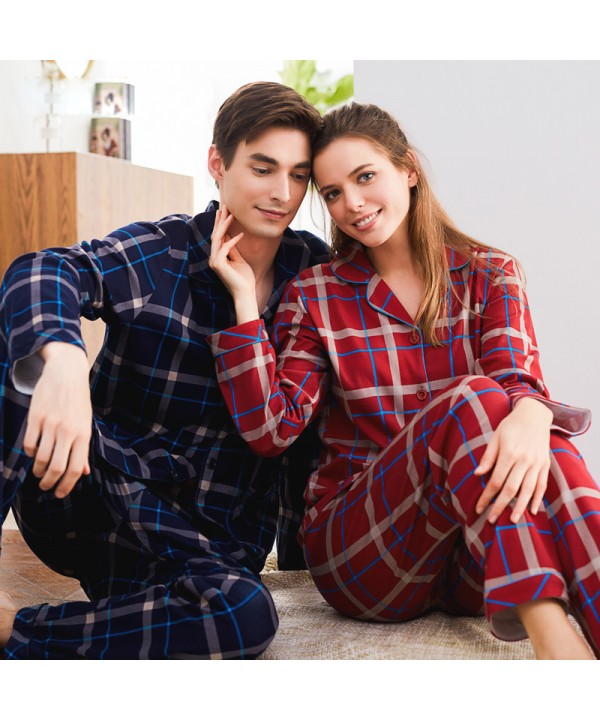 long sleeved Cotton pajamas for couple casual pure cotton pj sets
