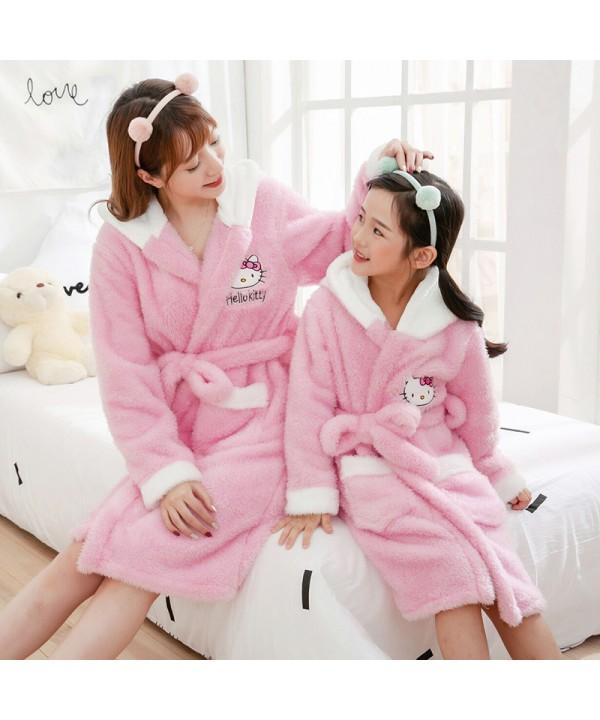 Pink Flannel cartoon pajamas comfort and thickening ladie's girl's Pajamas Set