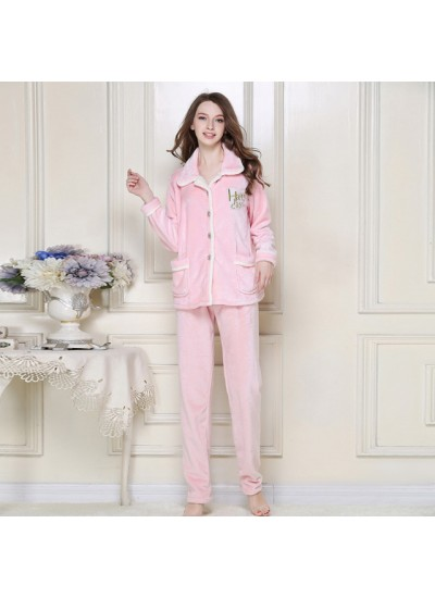 Winter Flannel Nightgown Thickened pyjamas Set Home pajama sets