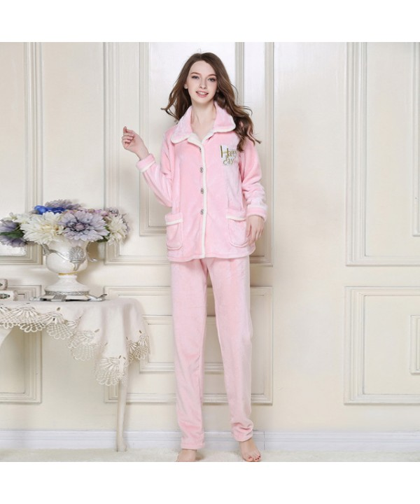 Winter Flannel Nightgown Thickened pyjamas Set Hom...