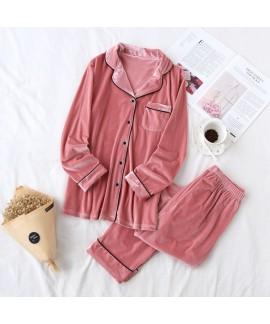 Autumn and winter pure cotton couple cardigan softest pyjamas, golden velvet casual pajamas for women and men