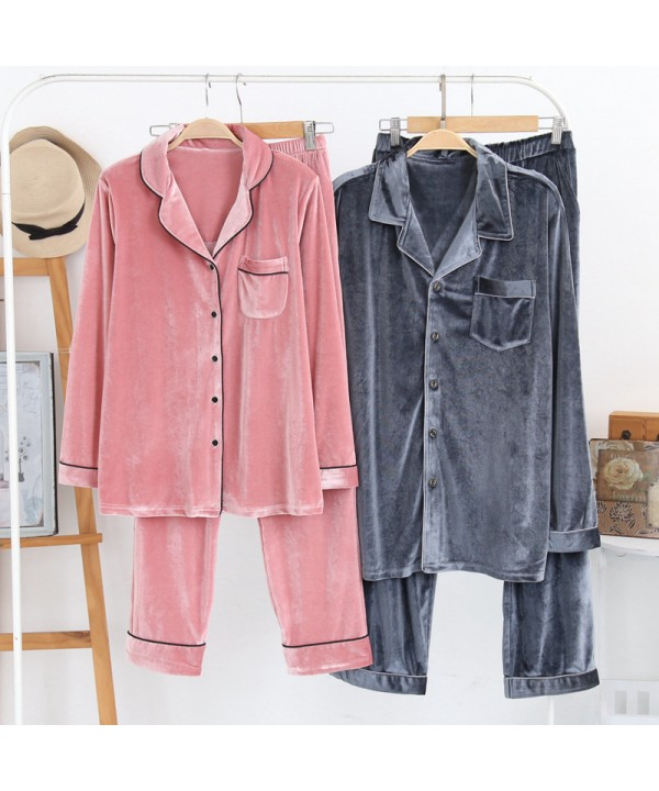Autumn and winter pure cotton couple cardigan softest pyjamas, golden velvet casual pajamas for women and men