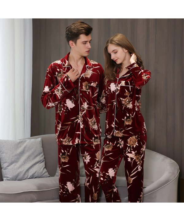 long-sleeved Lovers' loose pajama sets in autumn a...