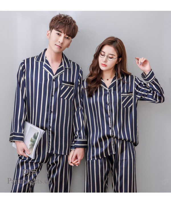 long sleeves couple comfy pjs for spring satin sil...