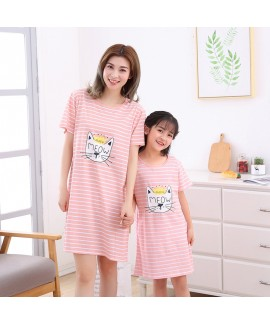 Pure cotton girls sleepwear for summer Short sleev...