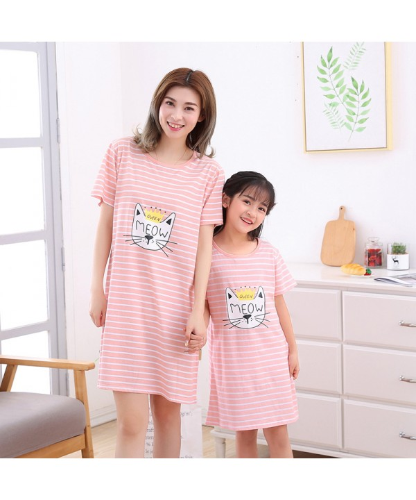 Pure cotton girls sleepwear for summer Short sleeve parent-child pajamas and onesies on sale