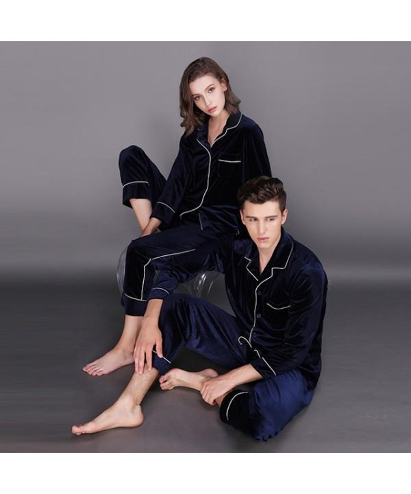 Long sleeve fashionable couple pajamas,velvet pajama sets