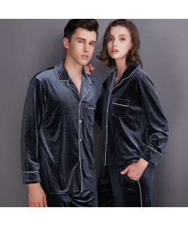 Long sleeve fashionable couple pajamas,velvet pajama sets