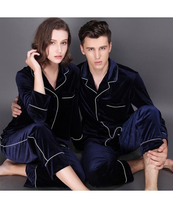 Long sleeve fashionable couple pajamas,velvet paja...