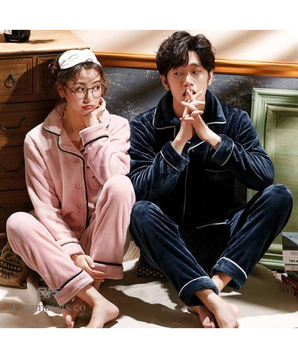 plus size Sleepwear men's long-sleeved couple pjs, thick flannel cardigan pajamas for women in spring and autumn