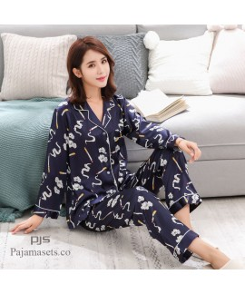 long sleeves cheap couple pjs Ice silk female pajamas,comfy silk pajamas for men can wear outdoors