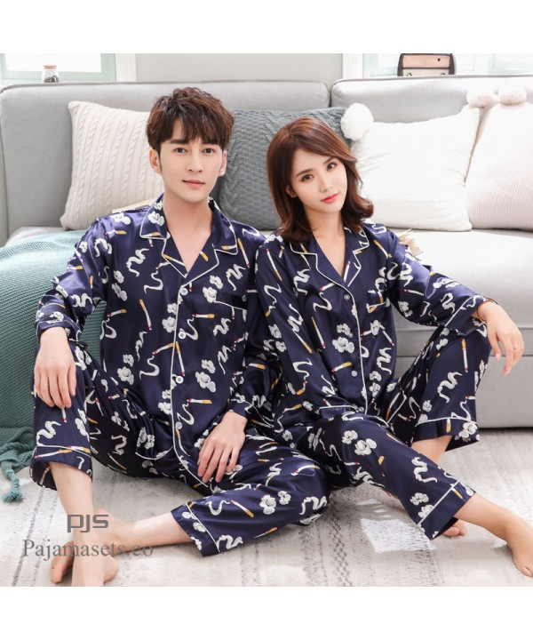 long sleeves cheap couple pjs Ice silk female paja...