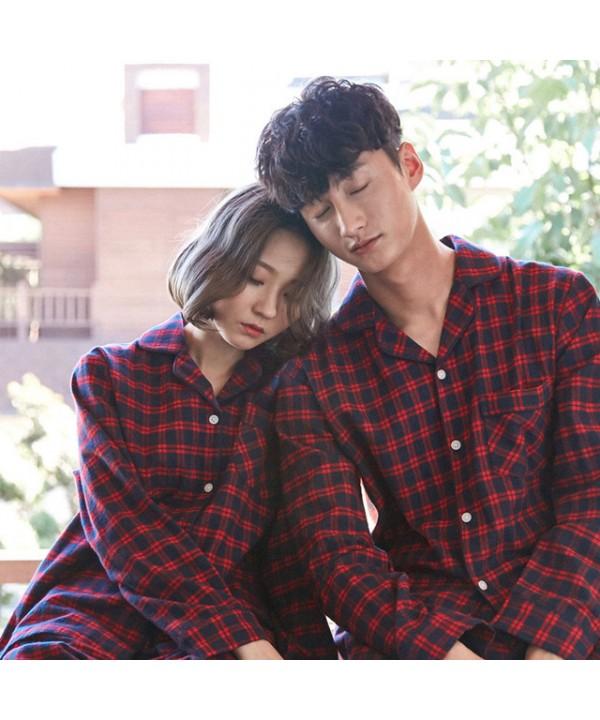Scottish square comfy couple pajamas, pure cotton sleepwear long-sleeved cheap simple pjs