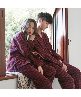 Scottish square comfy couple pajamas, pure cotton ...