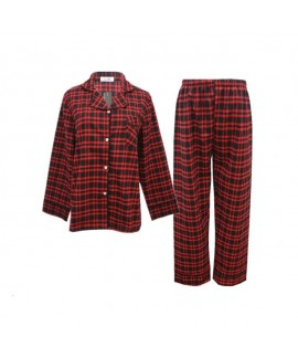 Scottish square comfy couple pajamas, pure cotton sleepwear long-sleeved cheap simple pjs