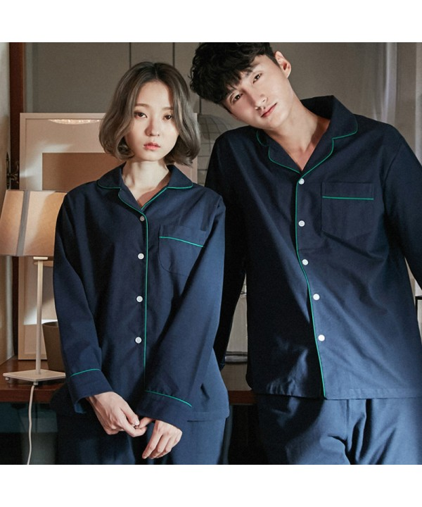 Blue Long-sleeved cotton Spring Classic pajama sets for couple