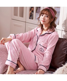 Long-sleeved couple pajamas flannel cardigan warm Pajama sets