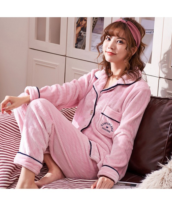 Long-sleeved couple pajamas flannel cardigan warm Pajama sets