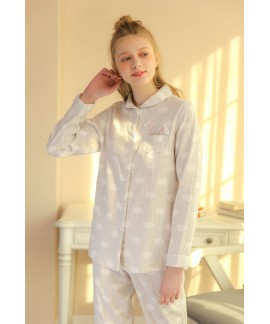 Ladies' long sleeves cotton gauze pajama sets