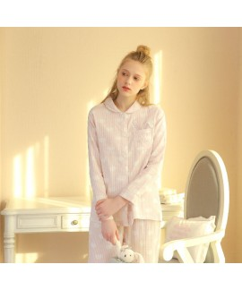 Ladies' long sleeves cotton gauze pajama sets
