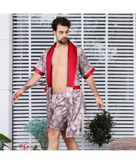 Men's silk pajamas summer pyjamas kimono Night gown