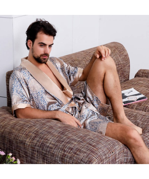 Men's silk pajamas summer pyjamas kimono Night gow...