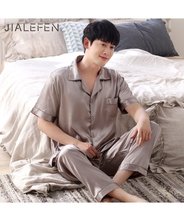 Luxury loose ice silk mens Pajamas set buy pajamas...