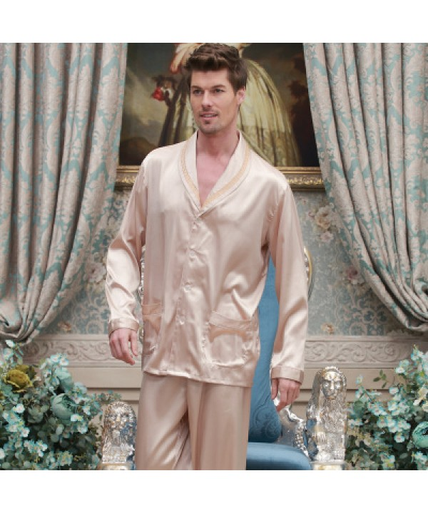 long sleeved Satin pajamas,plus size men's softest pyjamas