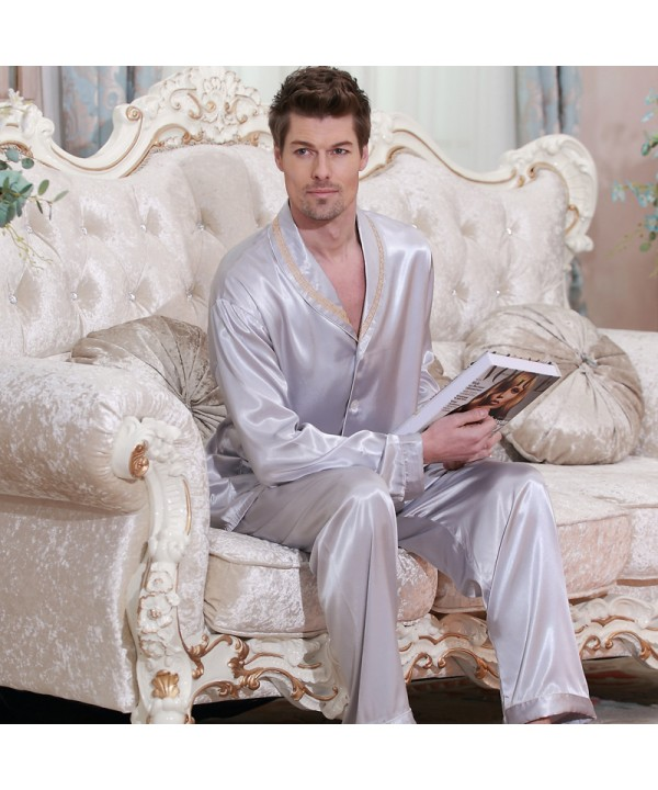 long sleeved Satin pajamas,plus size men's softest...