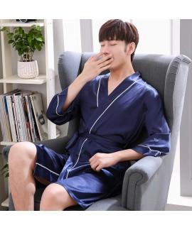 ice silk Mens pajamas and robe sets thin casual pa...