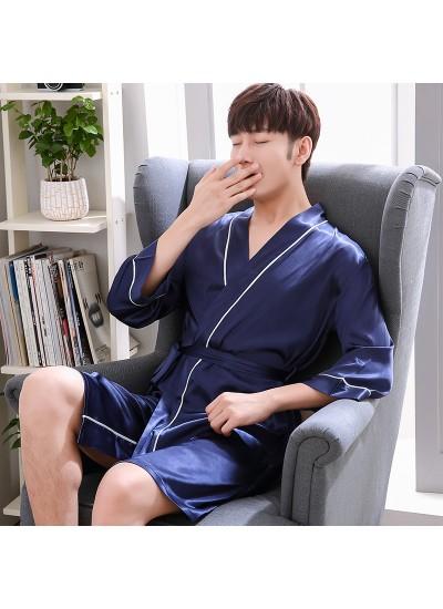 ice silk Mens pajamas and robe sets thin casual pajamas for male