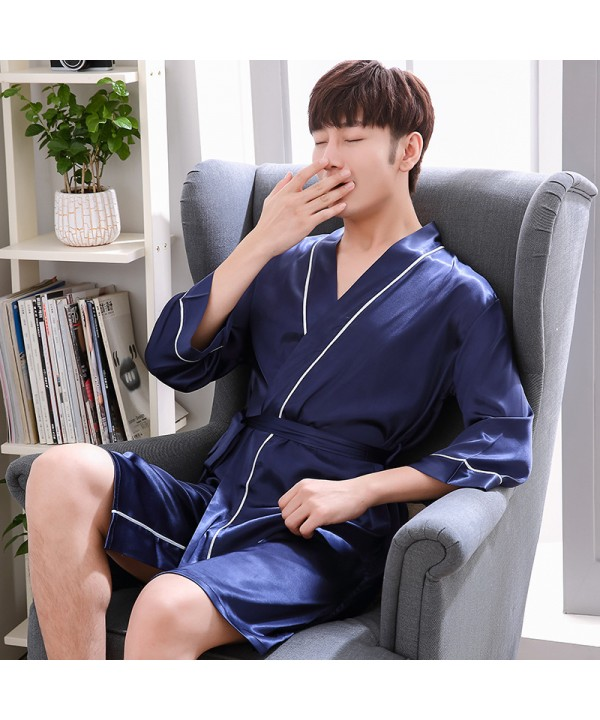 ice silk Mens pajamas and robe sets thin casual pa...