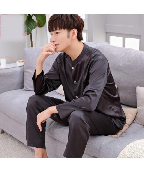 long sleeves casual collar Men's silk pajama sets  plus size pyjamas