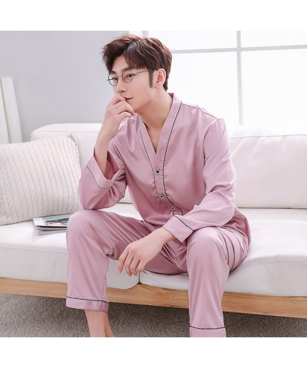 long sleeves casual collar Men's silk pajama sets ...