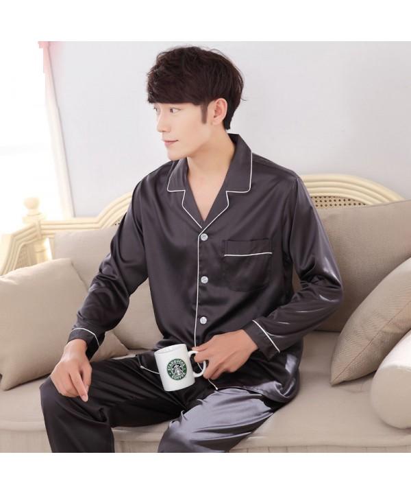 Solid color luxury men's Satin pajama sets comfy l...
