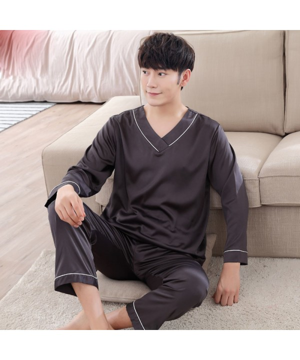 Pure color Satin pajamas for men comfy luxury slee...