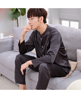Casual ice silk lounge pajamas for men long sleeve...