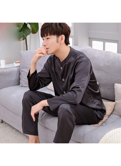 Casual ice silk lounge pajamas for men long sleeved pure color pajamas male