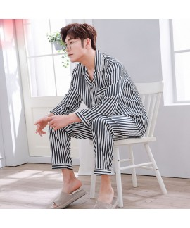 long sleeved Striped ice silk Pajamas set for men ...