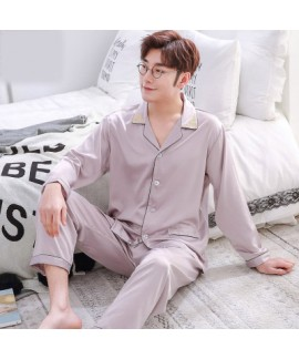 Double pocket leisure men's pajama sets Satin pajamas for male