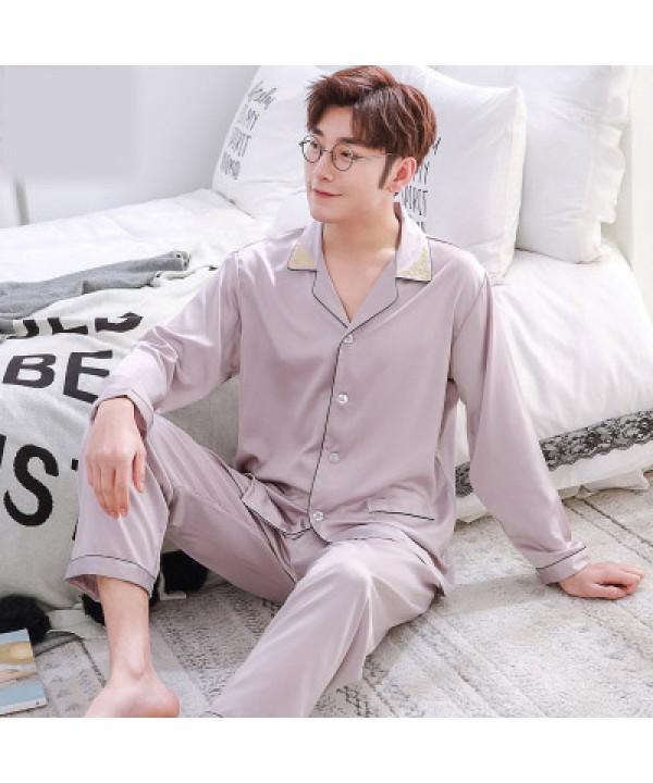 Double pocket leisure men's pajama sets Satin pajamas for male