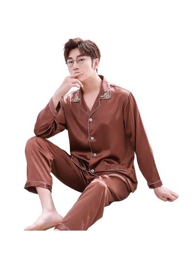 Double pocket leisure men's pajama sets silk like pajamas for male