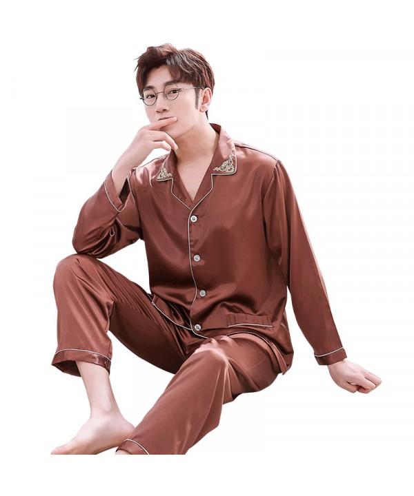 Double pocket leisure men's pajama sets Satin paja...