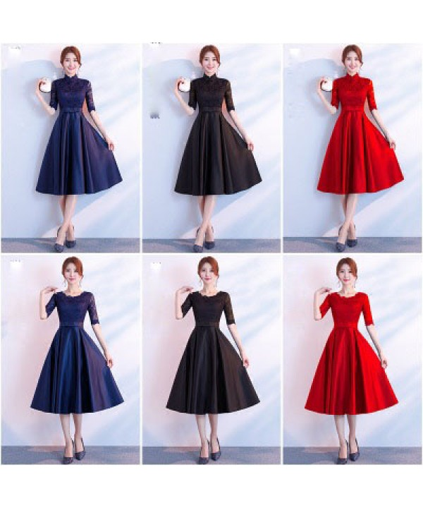 Medium length evening dress, fashion bridesmaid dress