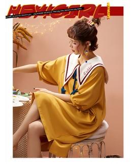 100% Cotton Nightdress Women Summer Cute Japanese Sweet Short Sleeve Pajamas Women Home Service Wholesale