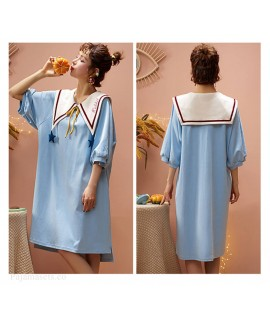 100% Cotton Nightdress Women Summer Cute Japanese Sweet Short Sleeve Pajamas Women Home Service Wholesale