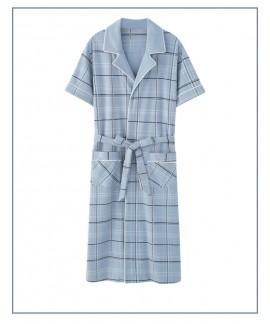 Summer men's short-sleeved blue plaid pajamas male...