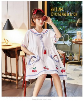 Chibi Maruko Summer Thin Nightdress Short-sleeved Pajamas Cotton Loose Mid-length Home Service Wholesale